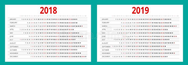 календарь 2018 и 2019 Шаблон печати Ориентация портрета Комплект 12 месяцев Плановик на 2018 и 2019 год иллюстрация вектора