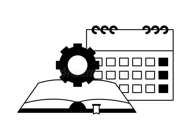 Календарь и шестерня книги иллюстрация штока