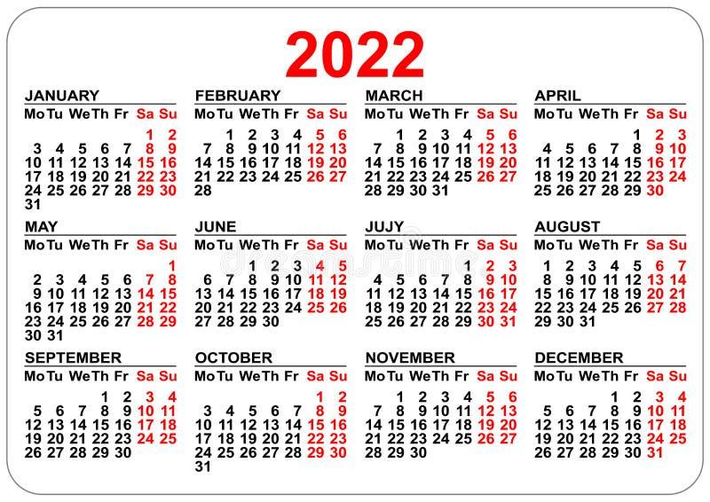 Календарь кармана офиса ориентация шаблона 2022 год горизонтальная иллюстрация штока