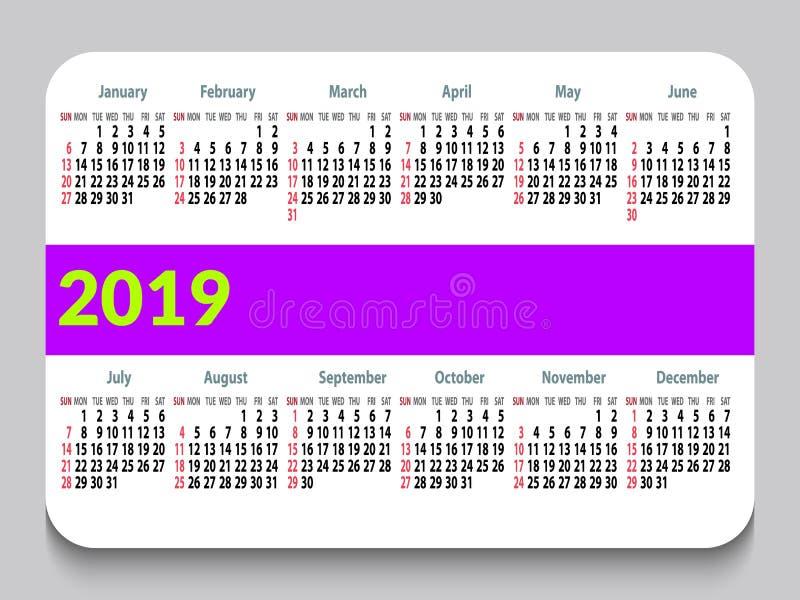 календарь 2019 карманов в английском Решетка календаря шаблона Горизонтальная ориентация Старты недели на воскресенье Белая предп иллюстрация штока