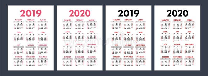 Календарь 2019, 2020 лет Комплект основного вектора Старты недели на Sund иллюстрация штока