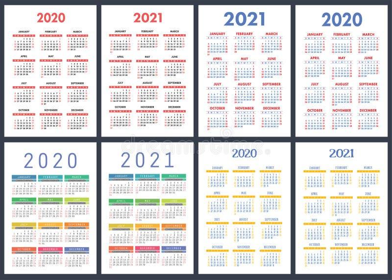 Календарь 2020, 2021 лет Красочный набор вектора o Вертикальный английский шаблон дизайна календаря бесплатная иллюстрация
