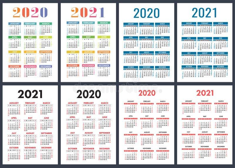 Календарь 2020, 2021 лет Красочный набор вектора o Вертикальный английский шаблон дизайна календаря иллюстрация штока