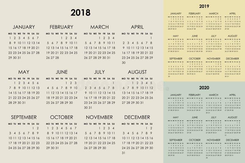 Календарь 2018, 2019, 2020 лет иллюстрация вектора