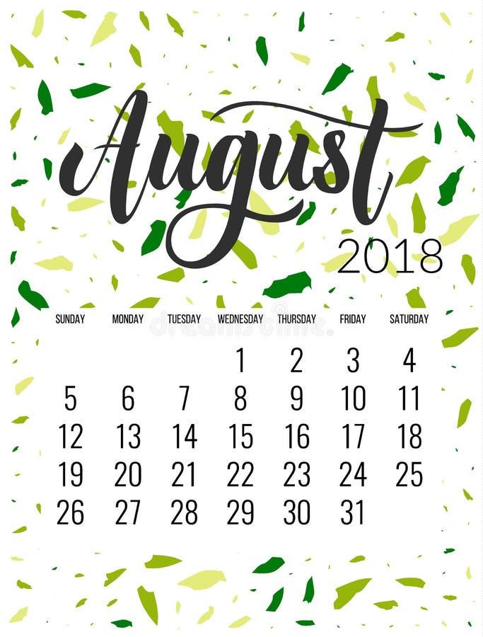 Календарь на август 2018 иллюстрация вектора