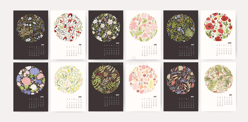 Календарь на 2019 год Вызовите шаблоны с круглыми сезонными флористическими декоративными элементами и месяцы на черно-белом иллюстрация штока