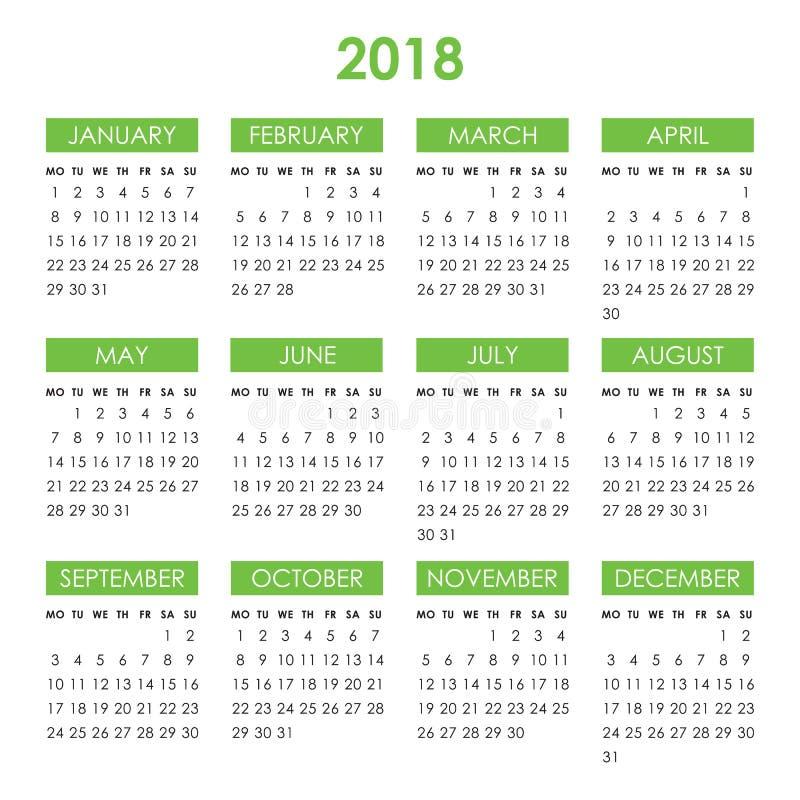 Календарь на 2018 год иллюстрация вектора