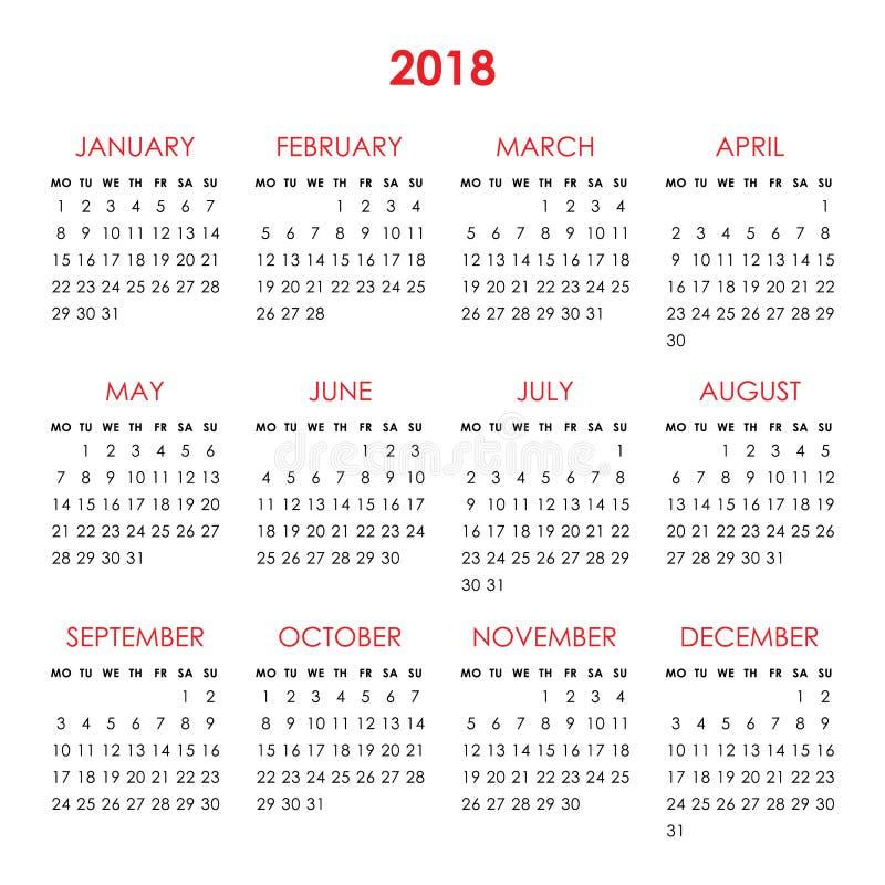 Календарь на 2018 год бесплатная иллюстрация
