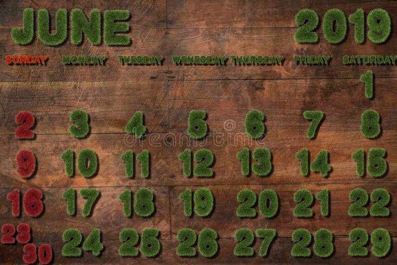 Календарь на июнь 2019 на белой предпосылке стоковое фото