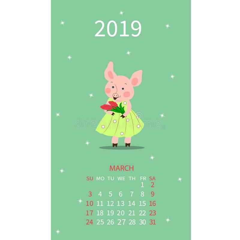 Календарь на март 2019 от воскресенья к субботе Милая свинья мультфильма в платье также вектор иллюстрации притяжки corel иллюстрация вектора