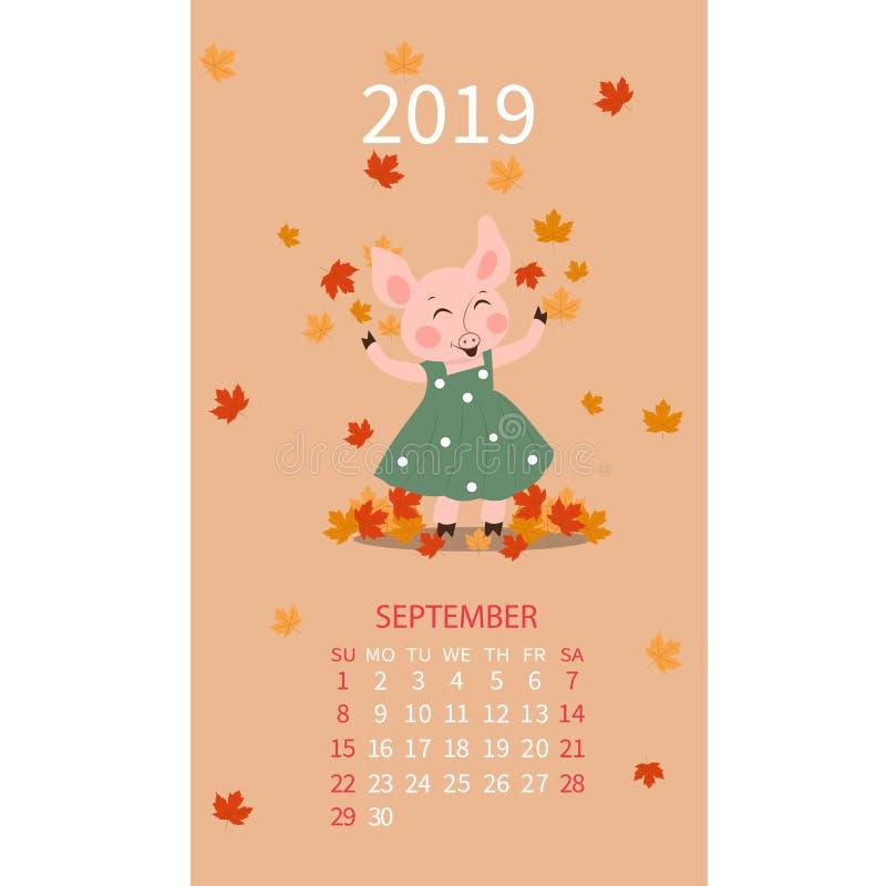 Календарь на 2019, календарь помечая буквами, шаблон свиньи сентября 2019, иллюстрацию вектора мультфильма свиньи руки вычерченну иллюстрация штока