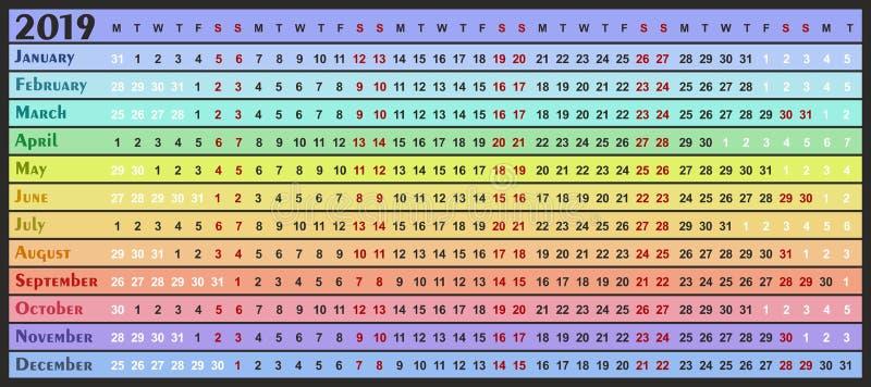 Календарь на 2019 бесплатная иллюстрация