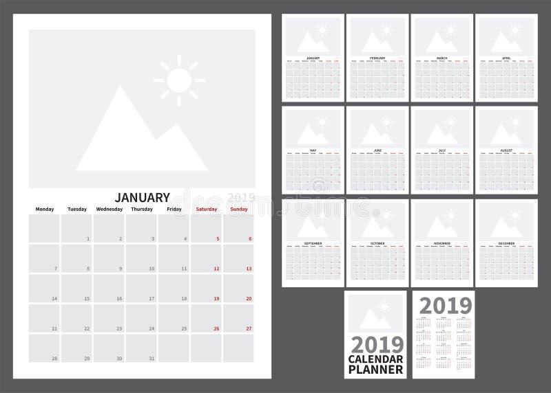Календарь на 2019 иллюстрация штока