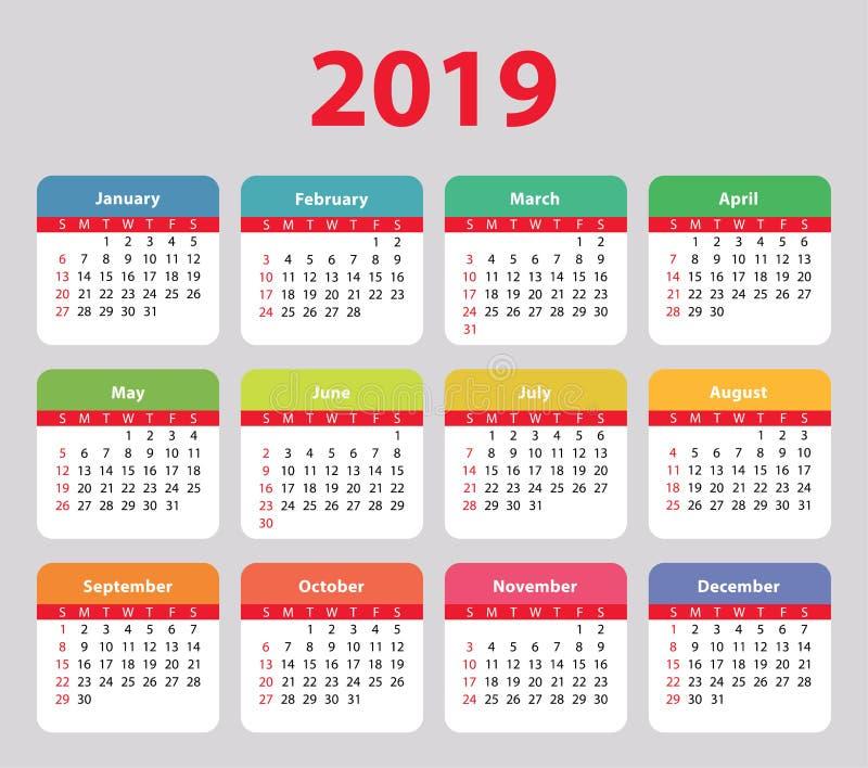 Календарь 2019 Неделя начинает в воскресенье, основной, красочном иллюстрация штока