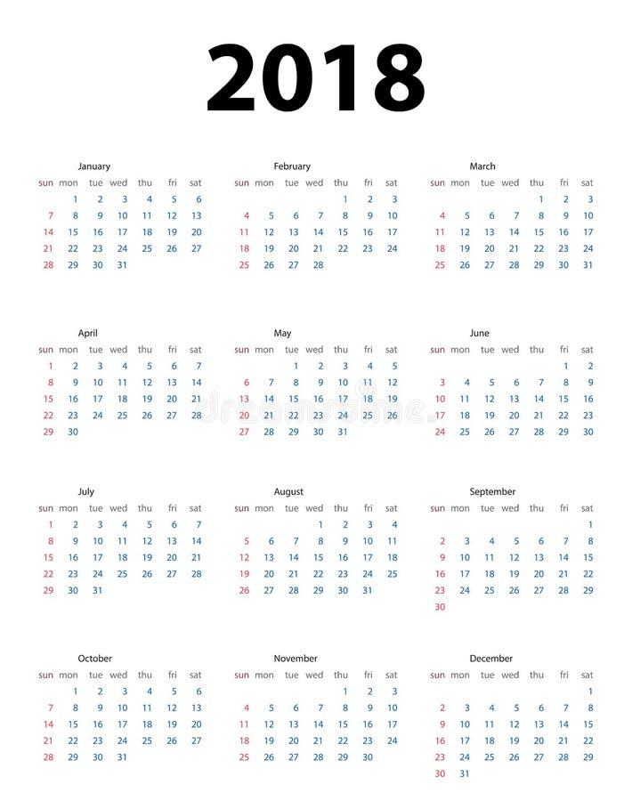 Календарь 2018 Неделя начинает от воскресенья также вектор иллюстрации притяжки corel иллюстрация вектора