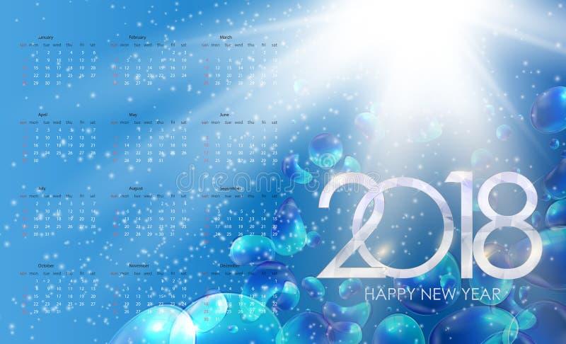 Календарь 2018 Неделя начинает от воскресенья также вектор иллюстрации притяжки corel иллюстрация штока
