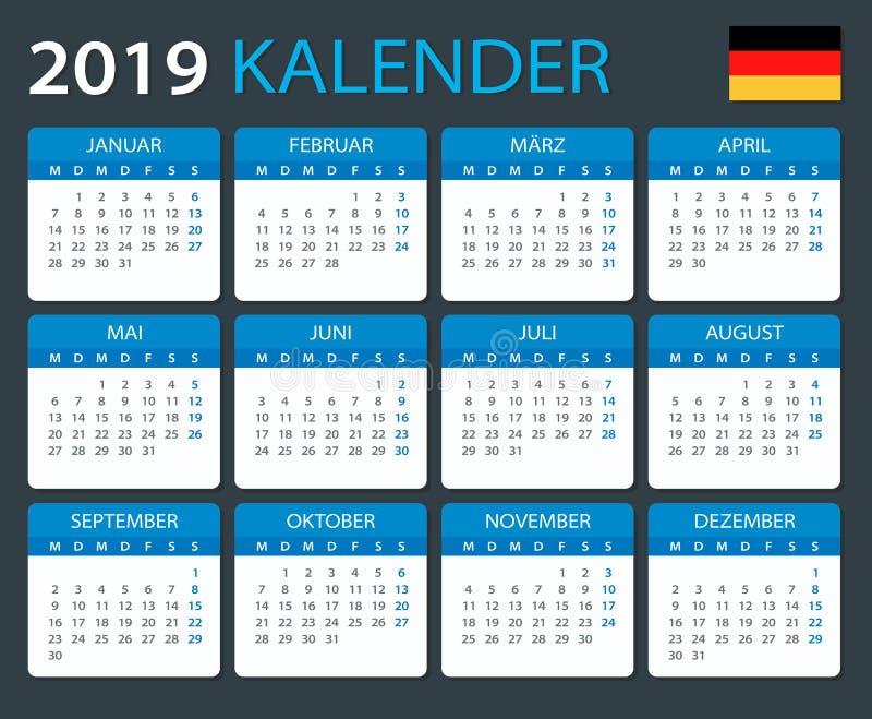 Календарь 2019 - немецкая версия иллюстрация вектора