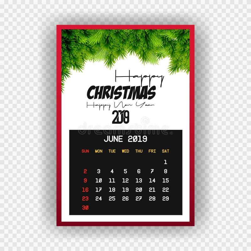 Календарь 2019 Нового Года рождества счастливый июнь бесплатная иллюстрация