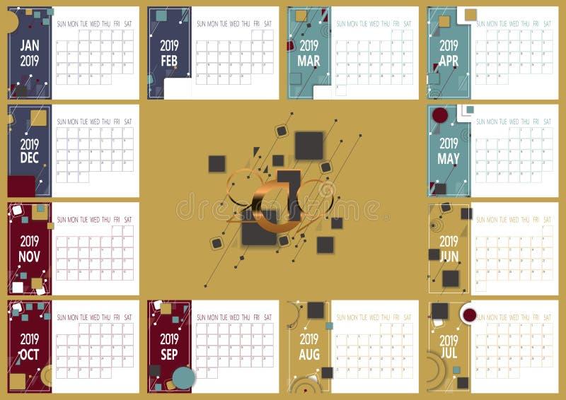 календарь 2019 Новых Годов с диаграммами simle геометрическими иллюстрация штока