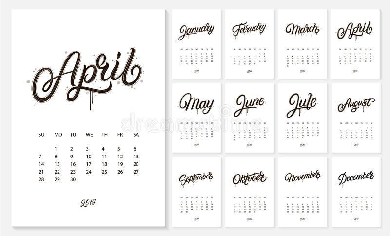 календарь 2019 Новых Годов бесплатная иллюстрация