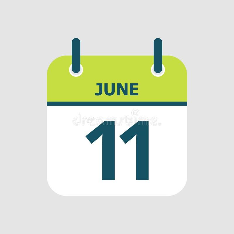 Календарь одиннадцатое -го июнь бесплатная иллюстрация