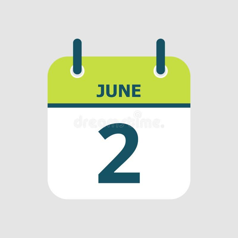 Календарь 2-ое -го июнь бесплатная иллюстрация