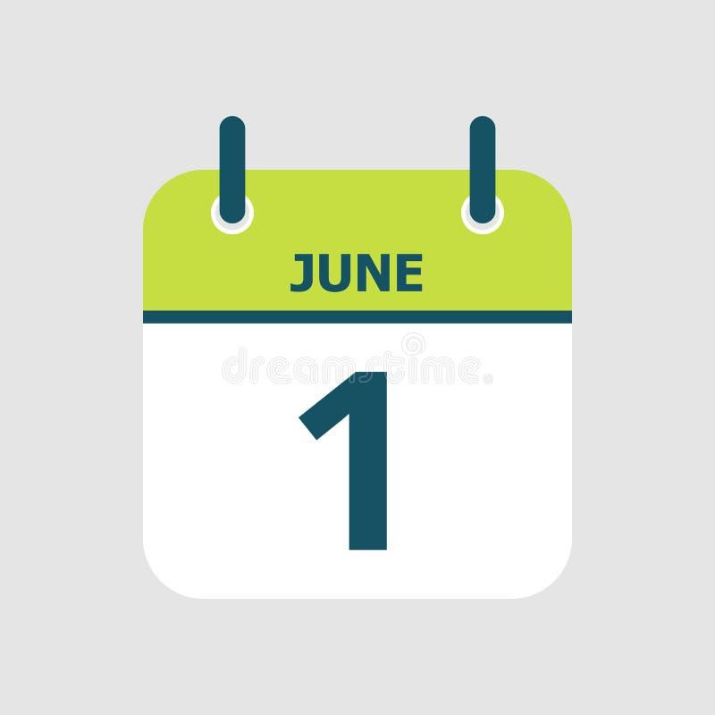 Календарь 1-ое -го июнь иллюстрация вектора