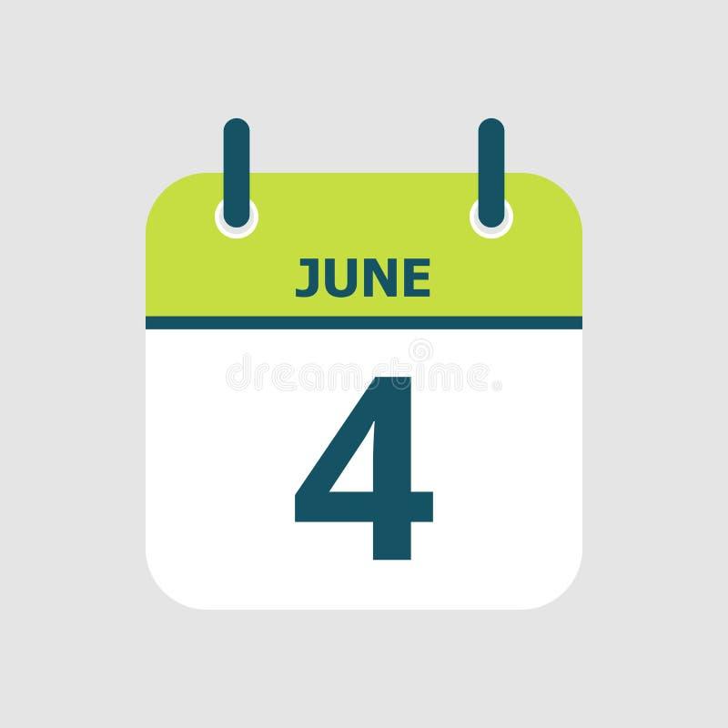 Календарь 4-ое -го июнь иллюстрация вектора