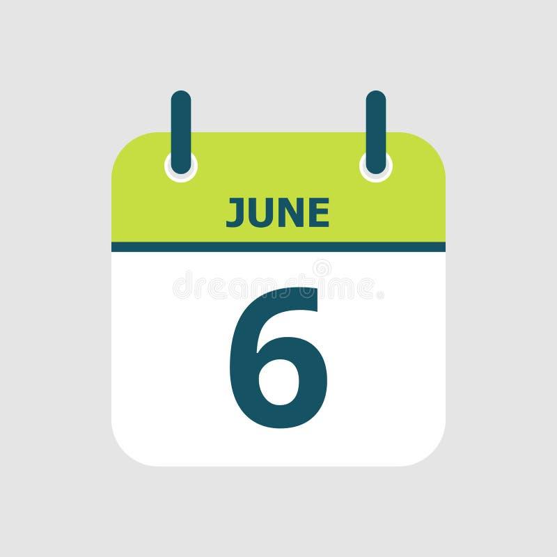Календарь 6-ое -го июнь иллюстрация вектора