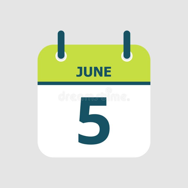 Календарь 5-ое -го июнь бесплатная иллюстрация