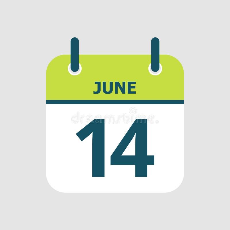 Календарь 14-ое -го июнь иллюстрация штока