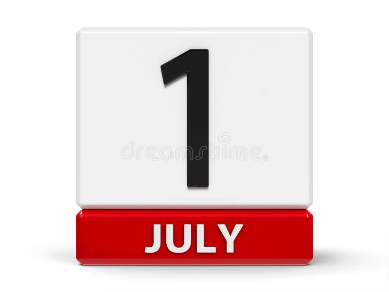 Календарь 1-ое июля кубов бесплатная иллюстрация