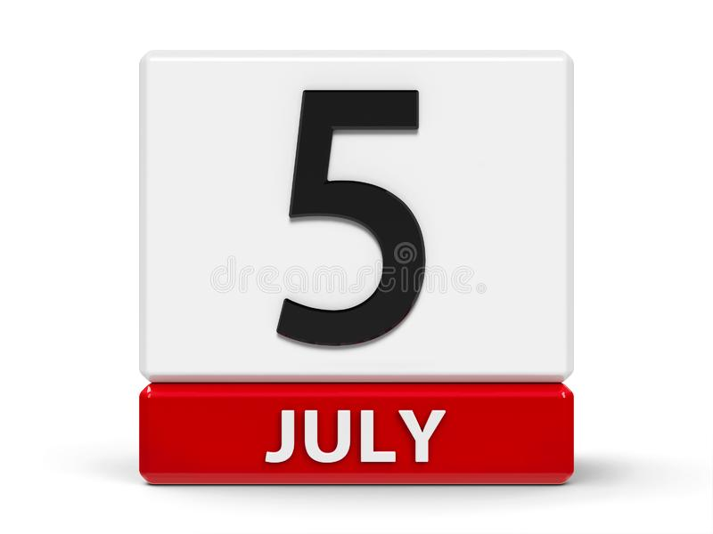 Календарь 5-ое июля кубов бесплатная иллюстрация
