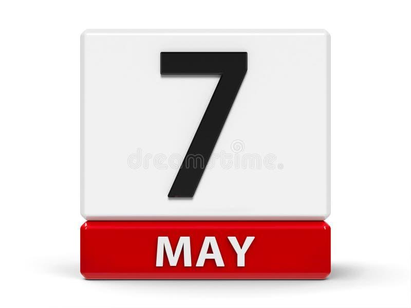 Календарь 7-ое мая кубов иллюстрация вектора