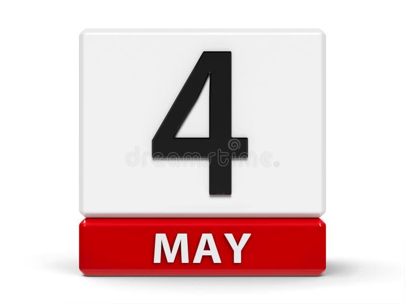Календарь 4-ое мая кубов иллюстрация штока