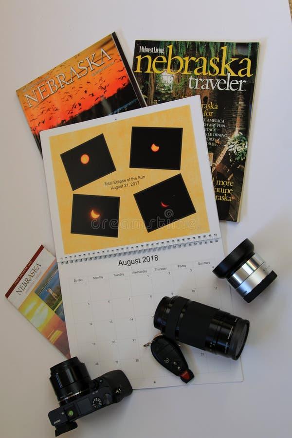Календарь перемещения с брошюрами Небраски стоковое фото