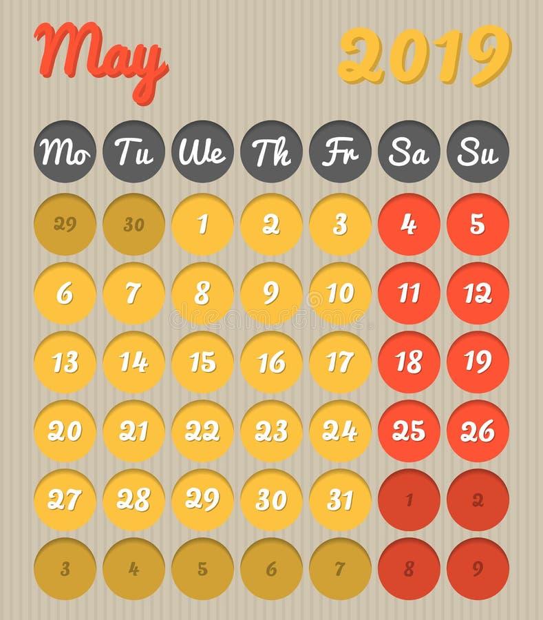 Календарь планирования месяца - май 2019, стиль картона, понедельник к s иллюстрация вектора