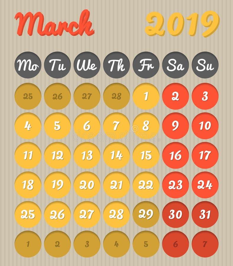 Календарь планирования месяца - март 2019, стиль картона, понедельник к иллюстрация вектора