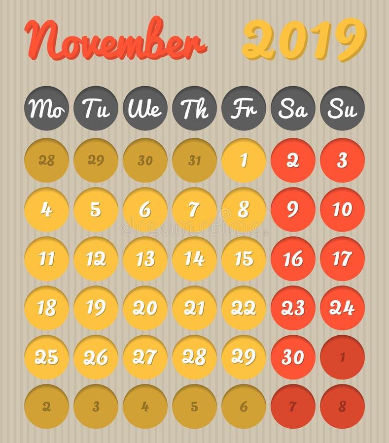 Календарь планирования месяца - ноябрь 2019, стиль картона, понедельник иллюстрация штока