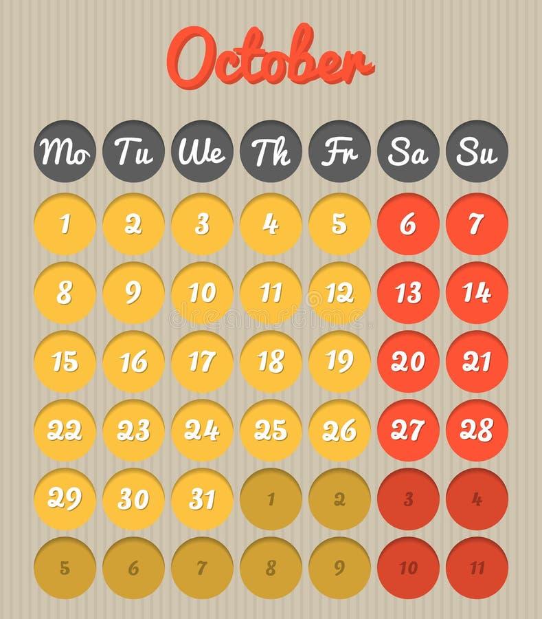 Календарь планирования месяца - октябрь 2018 бесплатная иллюстрация