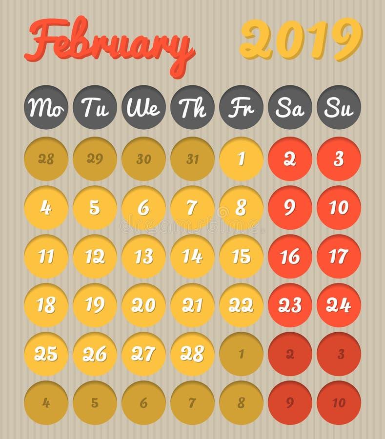 Календарь планирования месяца - февраль 2019, стиль картона, понедельник бесплатная иллюстрация