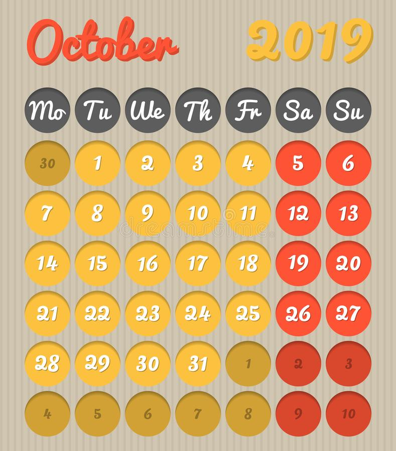 Календарь планирования месяца - October2019, стиль картона, понедельник t бесплатная иллюстрация
