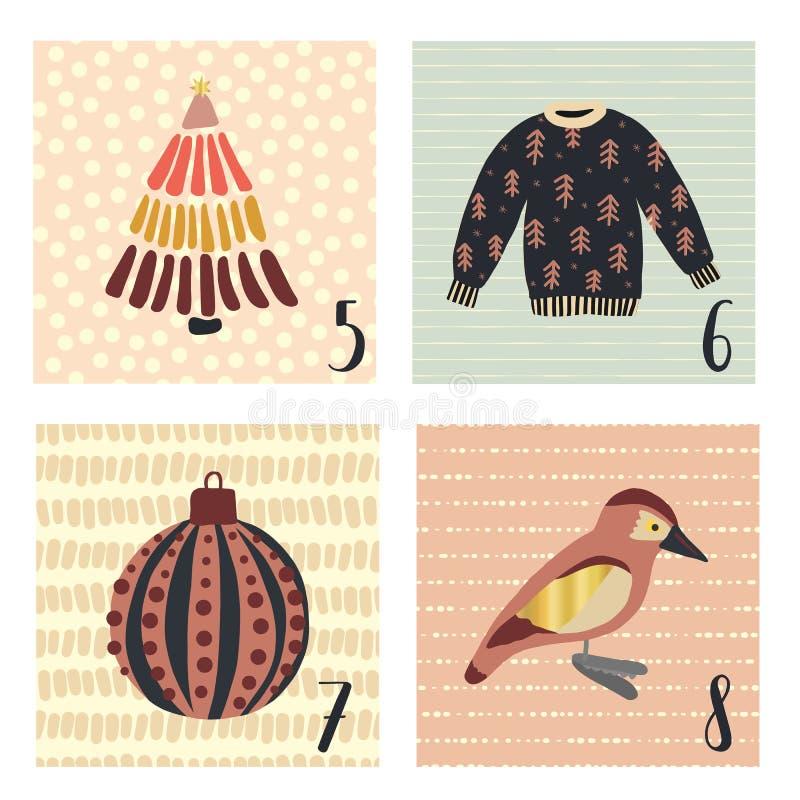 Календарь пришествия с иллюстрациями праздника рождества вектора руки вычерченными на 5-ое-8 декабря Некрасивый свитер рождества, иллюстрация штока