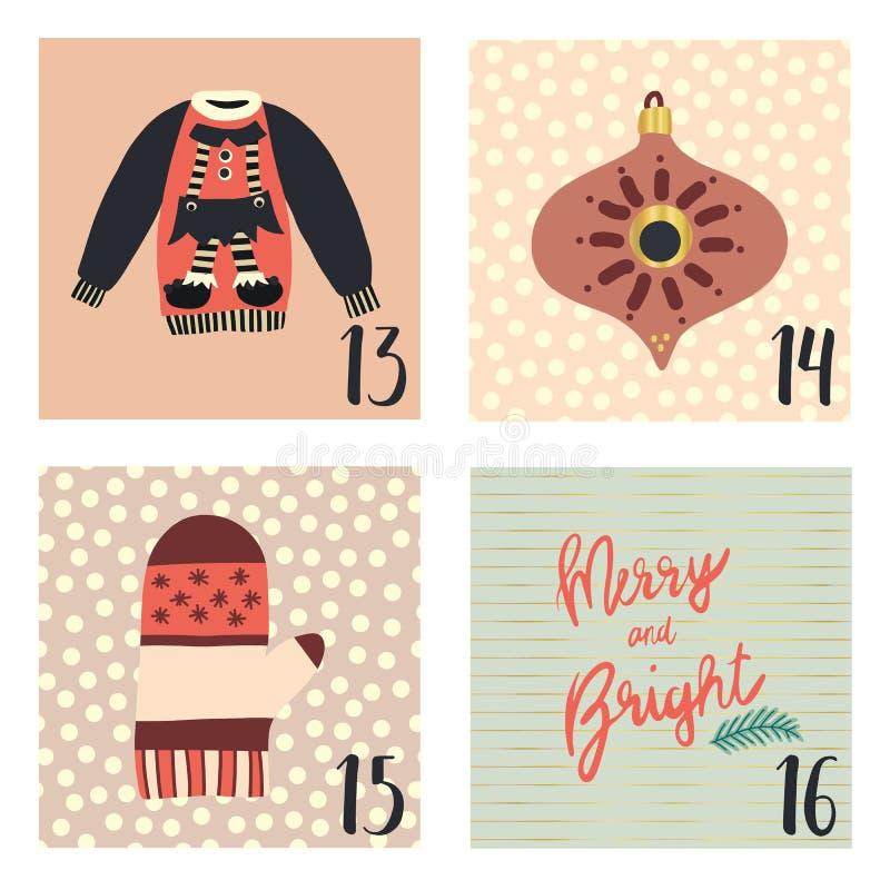 Календарь пришествия с иллюстрациями праздника рождества вектора руки вычерченными на 13-ое-16 декабря Свитер рождества, mitten, бесплатная иллюстрация