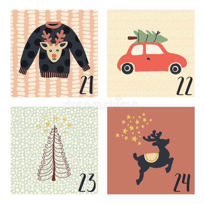 Календарь пришествия с иллюстрациями праздника рождества вектора милой руки вычерченными на 21-ое-24 декабря Некрасивый свитер ро бесплатная иллюстрация