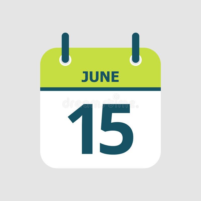 Календарь пятнадцатое -го июнь бесплатная иллюстрация
