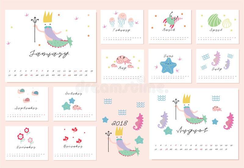 календарь 2018 русалки стоковые фото