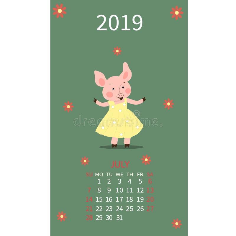 Календарь свиньи на июль 2019 Милая свинья, месяц Карцинома знака зодиака, лев Старты недели на воскресенье Иллюстрация вектора в иллюстрация вектора