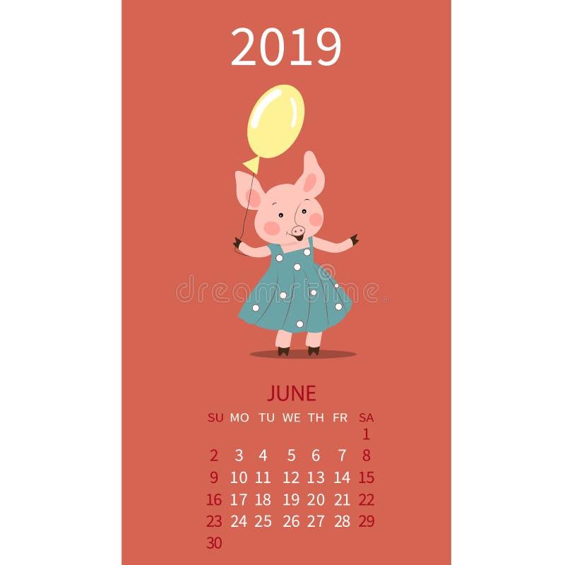 Календарь свиньи на июнь 2019 Милый календарь месяца со знаком Джемини гороскопа, Карциномой неделя начинает в воскресенье также  иллюстрация вектора
