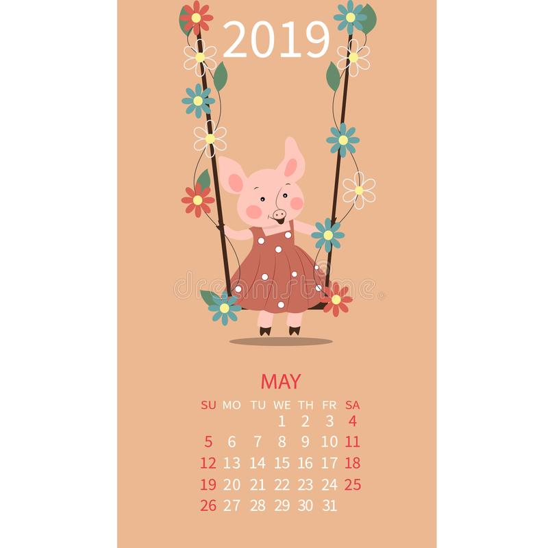 Календарь свиньи на май 2019 Милый календарь месяца с Тавром знака гороскопа, Джемини Старты недели на воскресенье также вектор и иллюстрация штока